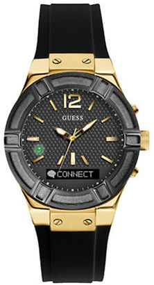 Guess Connect Sport Goldtone Stainless Steel and Silicone Smartwatch $249 thestylecure.com