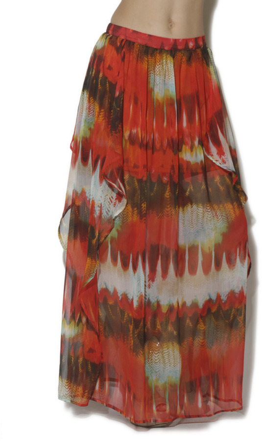 Arden B Feather Print Ruffle Layer Maxi