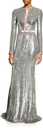 Badgley Mischka Sequin Long-Sleeve Tuxedo Gown