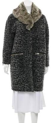 Band Of Outsiders Wool Faux Fur-Trimmed Animal Print Coat