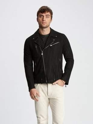 John Varvatos Striped Leather Biker Jacket