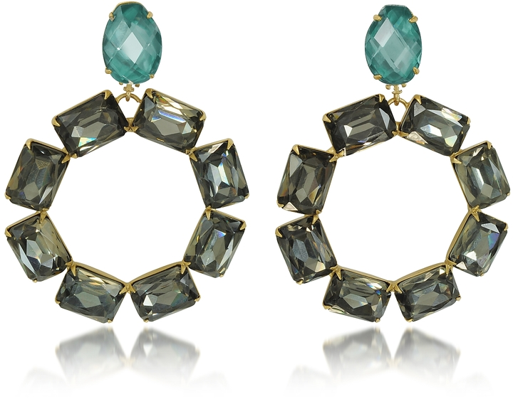 Tory BurchTory Burch Vintage Goldtone Brass w/ Denim Blue and Smoke Crystals Clip on Earrings