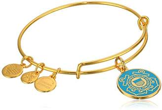 Alex and Ani Armed Forces US Coast Guard Expandable Gold Wire Bangle Charm Bracelet