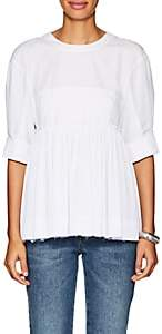 Cédric Charlier Women's Pleated-Hem Cotton-Blend Blouse - White
