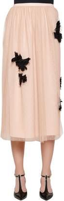 RED Valentino Embellished Swiss Dot Lace Midi Skirt