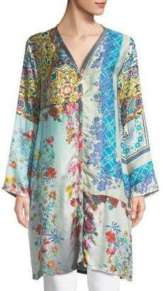 Johnny Was Witteau Button-Front Graphic Silk Cardigan, Plus Size