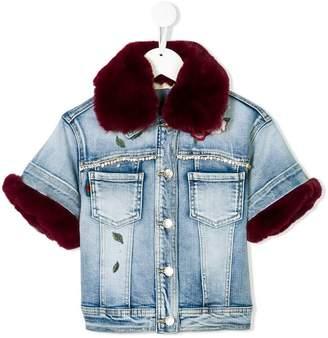 MonnaLisa detachable faux fur denim jacket