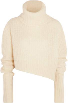 Asymmetric Chunky-knit Turtleneck Sweater - Ecru
