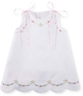 Luli & Me Pique Dress w/ Floral Embroidery, Size 2-3T