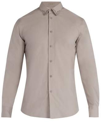 Bottega Veneta Stitched Detail Cotton Shirt - Mens - Dark Grey