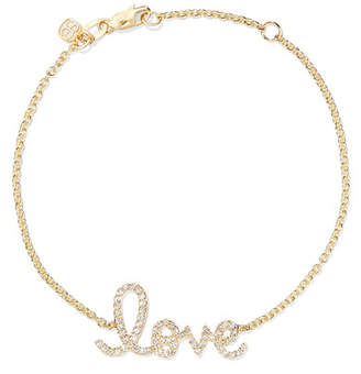 Sydney Evan Love Medium 14-karat Gold Diamond Bracelet