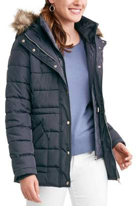 Time and Tru Women's Heavyweight Puffer Coat With Faux Fur-Trim Hood