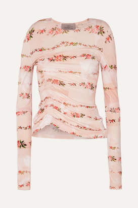 Preen by Thornton Bregazzi Misha Ruched Floral-print Stretch-crepe Top