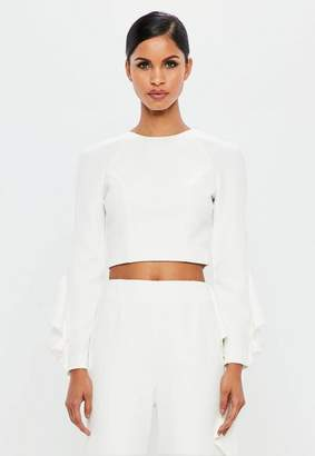 Missguided White Ruffle Sleeve Crop Top