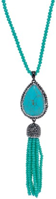 "Joan Rivers Classics Collection Joan Rivers Faux Gemstone 34"" Tassel Necklace with 3"" Extender"