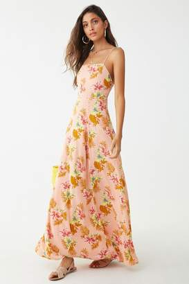 Forever 21 Crinkled Floral Lace-Up Maxi Dress