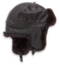 Crown Cap Sheared Rabbit Aviator Hat