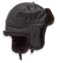 Crown Cap Sheared Rabbit Aviator Hat
