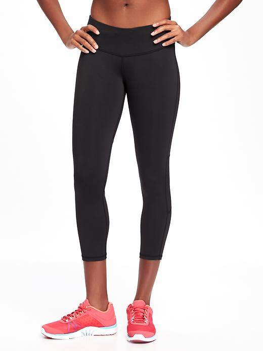 Go-Dry Cool Mid-Rise Reflective Run Crops for Women