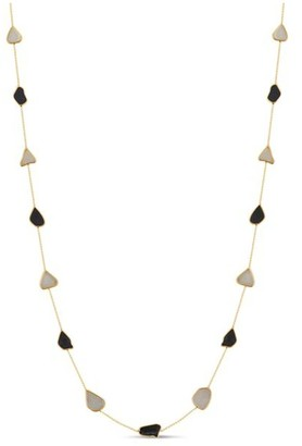 Tresor Collection Organic Black And White Diamonds Slice Necklace In 18K Yellow Gold
