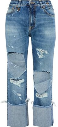 R 13 Bowie Cropped Distressed High-Rise Straight-Leg Jeans