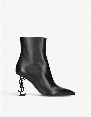 Saint Laurent Opyum 85 leather ankle boots