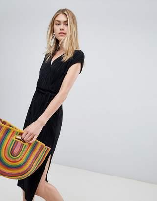 Bershka Plisse Wrap Dress