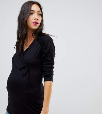 Asos DESIGN Maternity wrap top with tie side and ruched sleeve detail
