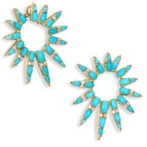 Nikos Koulis Spectrum Diamond& Turquoise Hoop Earrings/1.5""