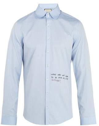 Gucci Single Cuff Embroidered Oxford Cotton Shirt - Mens - Blue