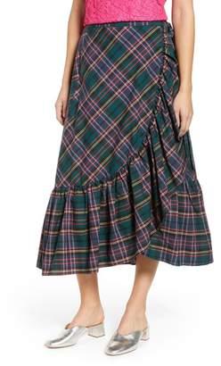 J.Crew J. Crew Plaid Ruffle Wrap Skirt