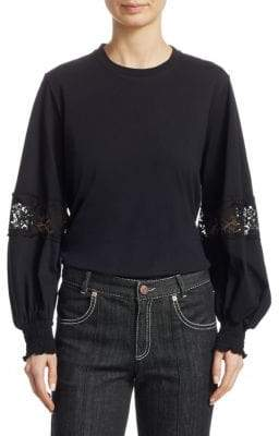 See by Chloe Lace-Inset Long-Sleeve Tee