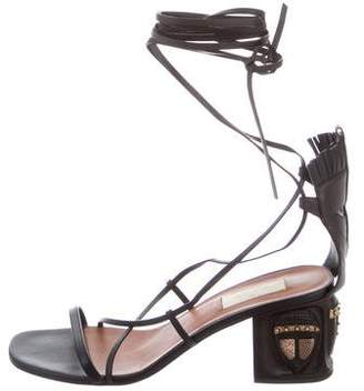 Valentino 2016 Tribal-Mask Leather Wrap-Around Sandals