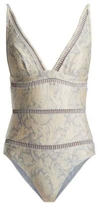 Zimmermann Helm Spice Paisley Print V Neck Swimsuit - Womens - Blue Multi