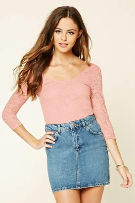 Forever 21 Floral Crochet Strappy-Back Top