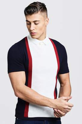 boohoo Short Sleeve Colour Block Knitted Polo