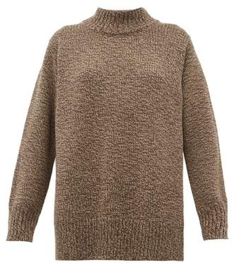 The Row Edmund High Neck Wool Sweater - Womens - Brown Multi