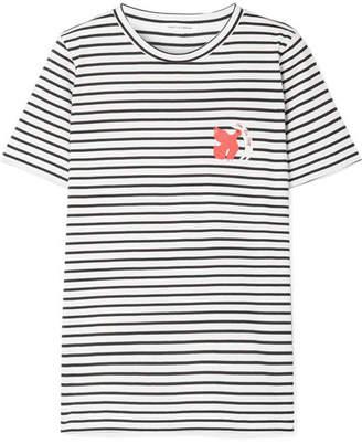 Chinti and Parker Por La Paz Embroidered Striped Cotton-jersey T-shirt - White