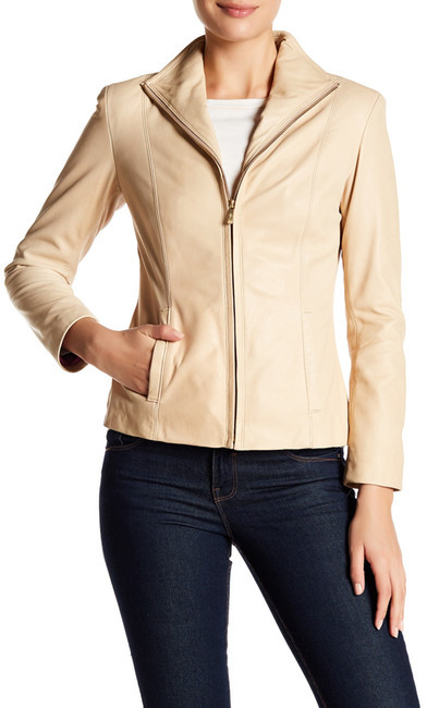 Cole Haan Cole Haan Genuine Lambskin Leather Zip Jacket (Petite)