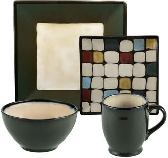 Mikasa Belmont Square Green Dots 16 Piece Dinnerware Set, Service for 4