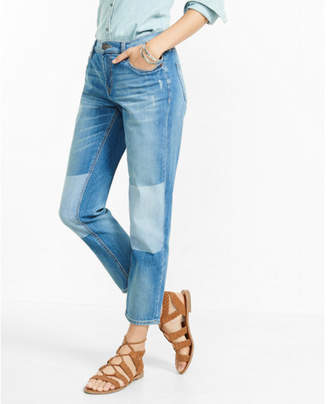 Express distressed shadow mid rise patch girlfriend jeans