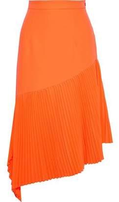 Milly Paneled Pleated Crepe Skirt