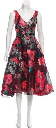 Lela Rose Patterned Midi Dress