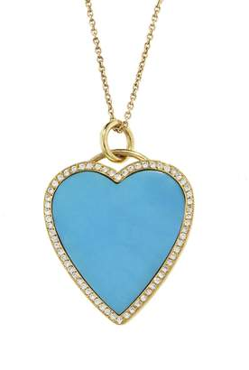 Jennifer Meyer Diamond Turquoise Inlay Heart Pendant Necklace - Yellow Gold