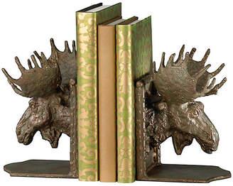 Cyan Set of 2 Moose Head Bookends - Bronze