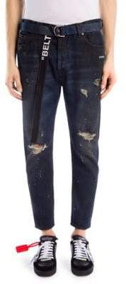 Off-White Slim-Fit Distressed Slouchy Cotton Jeans