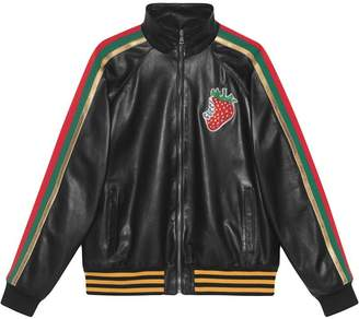 Gucci Leather bomber jacket with Strawberry