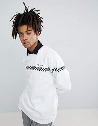 Mennace Sweatshirt In White With Checkerboard Stripe