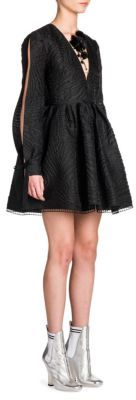 Fendi Open Sleeve Fur & Crystal-Embellished Cloque Fit-&-Flare Dress $4,550 thestylecure.com