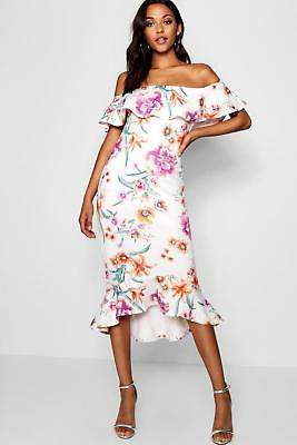 boohoo NEW Womens Tall Off The Shoulder Frill Hem Midi Dress in Polyester